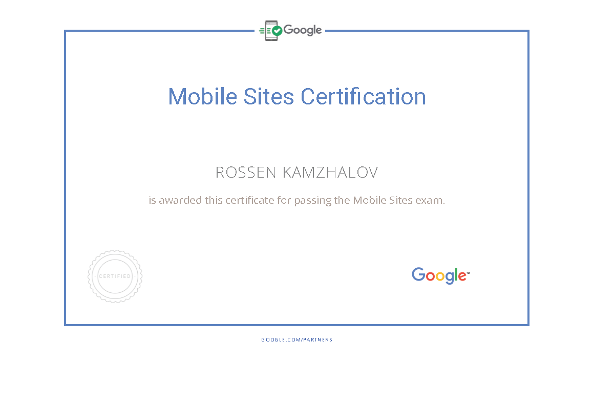 Mobile pages Google Partners Certification